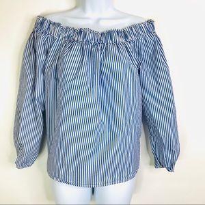 Gap Striped Top Off-Shoulder Stripes Long Sleeves